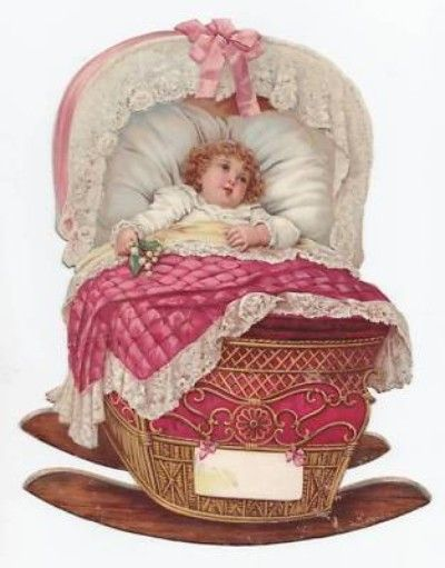 Big Victorian Scrap Baby Girl Pink Cradle Lace Die Cut