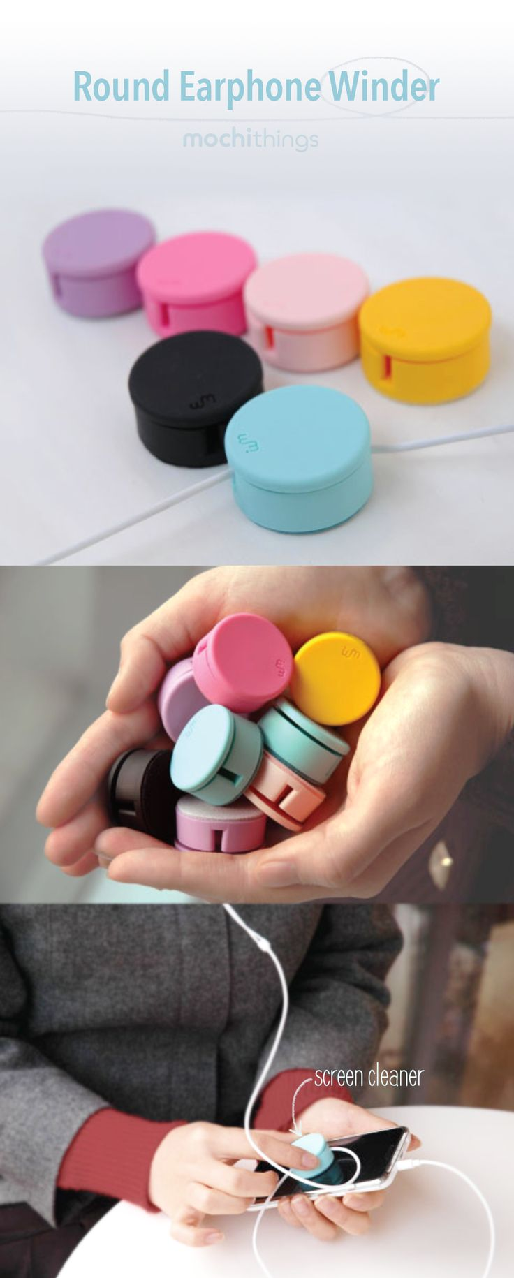 Nothing is worse than tangled earphones! The Round Earphone Winder is an organizer that keeps your cord neatly rolled up improving the longevity, so you don't have to keep replacing broken earphones every few months!