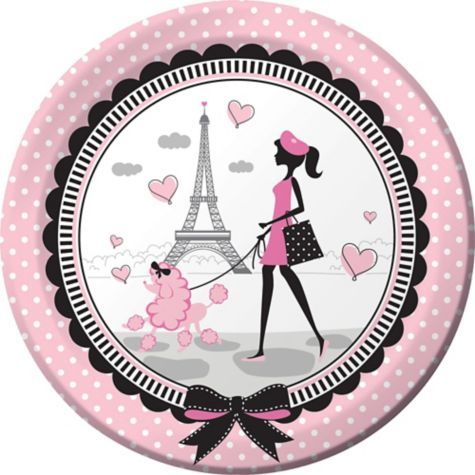 Pink Paris Lunch Plates 8ct - Party City