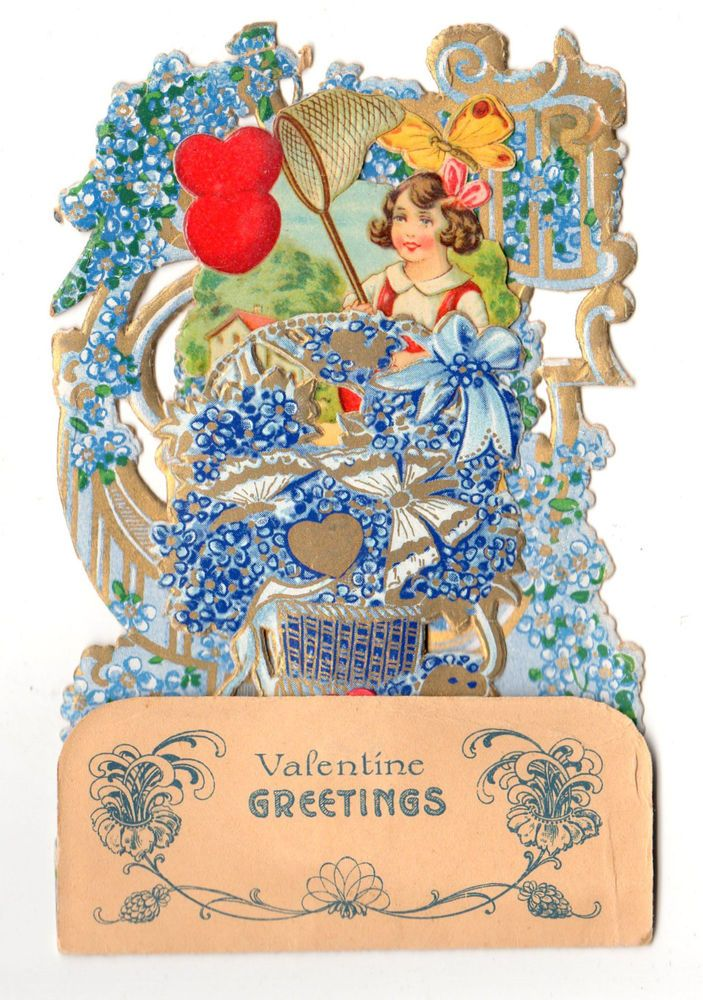 VINTAGE VICTORIAN GERMAN POP-UP PULL DOWN 3D VALENTINE CARD WITH HONEYCOMB