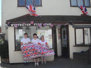 One of the top five chippies in Norfolk, here Winterton Fish Bar was decorated for the Jubilee 2012