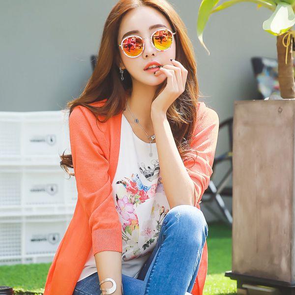 StyleOnme_Round Shaped Reflective Sunglasses #spring #summer #stylish #sunglasses #koreanfashion