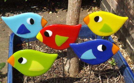 Juego de jardín de pájaro de vidrio fundido