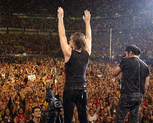 Jon Bon Jovi and Tico Torres during Bon Jovi's 'Bounce Tour' Live at Giants Stadium on August 7, 2003 - Show at Giants Stadium in East Rutherford, New Jersey, United States.