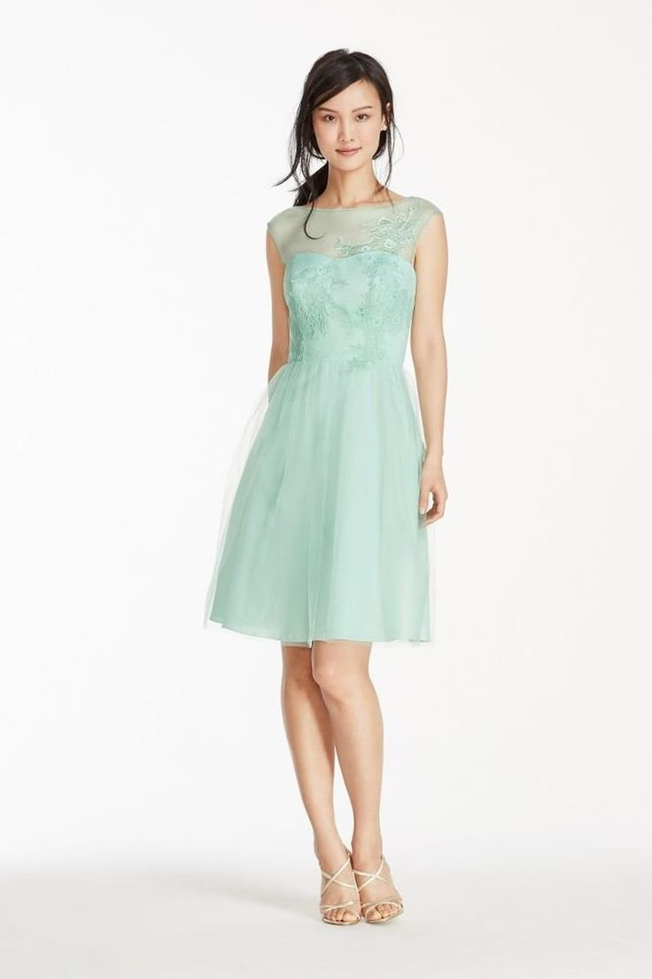 81 best lohmann hanson bridesmaids dresses images on pinterest short tulle bridesmaid dress with illusion lace neckline style f17024 amazon fashion ombrellifo Choice Image