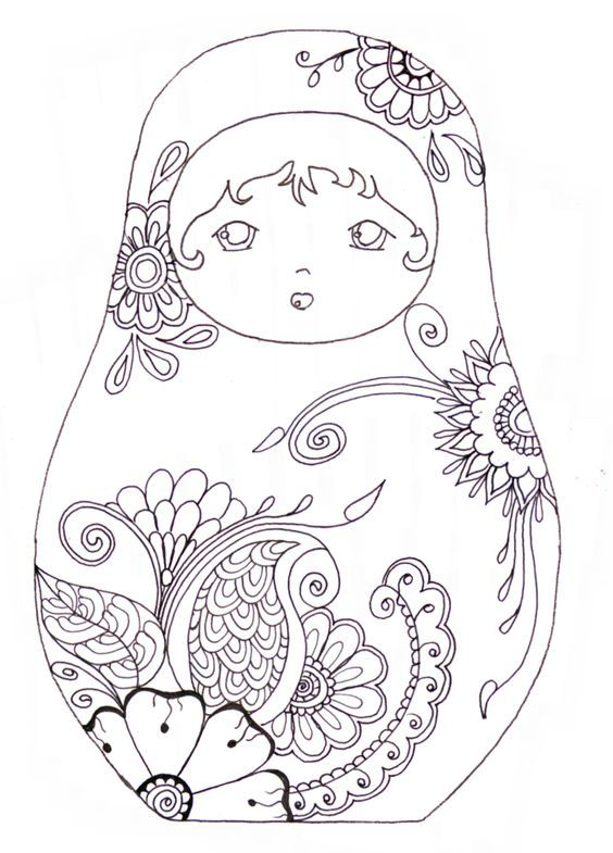 matryoshka coloriage abstract doodle zentangle paisley coloring pages