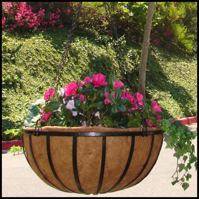 """18"""" English Garden Flat Steel Hanging Basket  $35.95"""