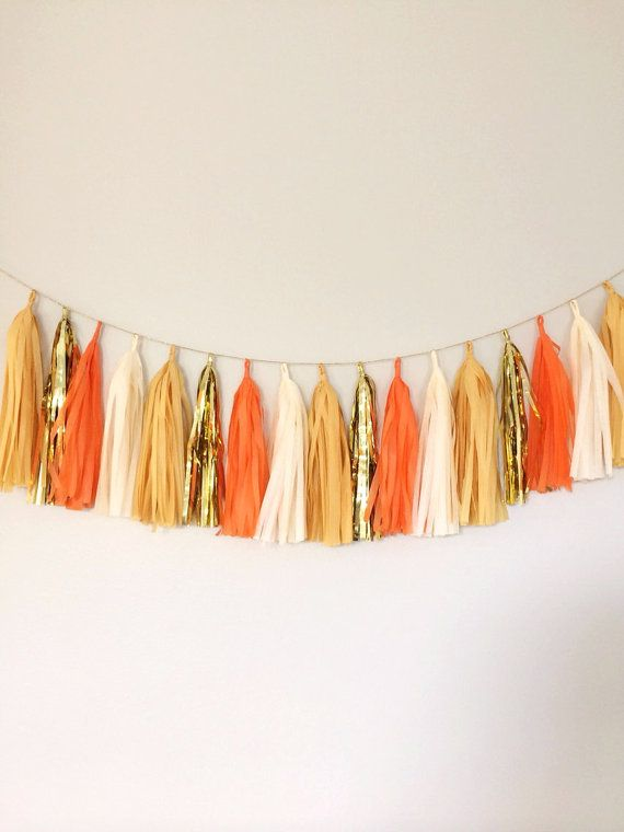 Orange, Ivory and Gold Fall Tassel Garland Banner- Natural Decor, Party Decor, Party, Weddings, Fall Theme, Neutral