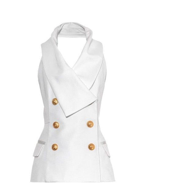BALMAIN Halterneck tuxedo top (158,760 INR) ❤ liked on Polyvore featuring tops, vest, white, white vest top, white tux vest, embellished halter top, white vest e halter neck top
