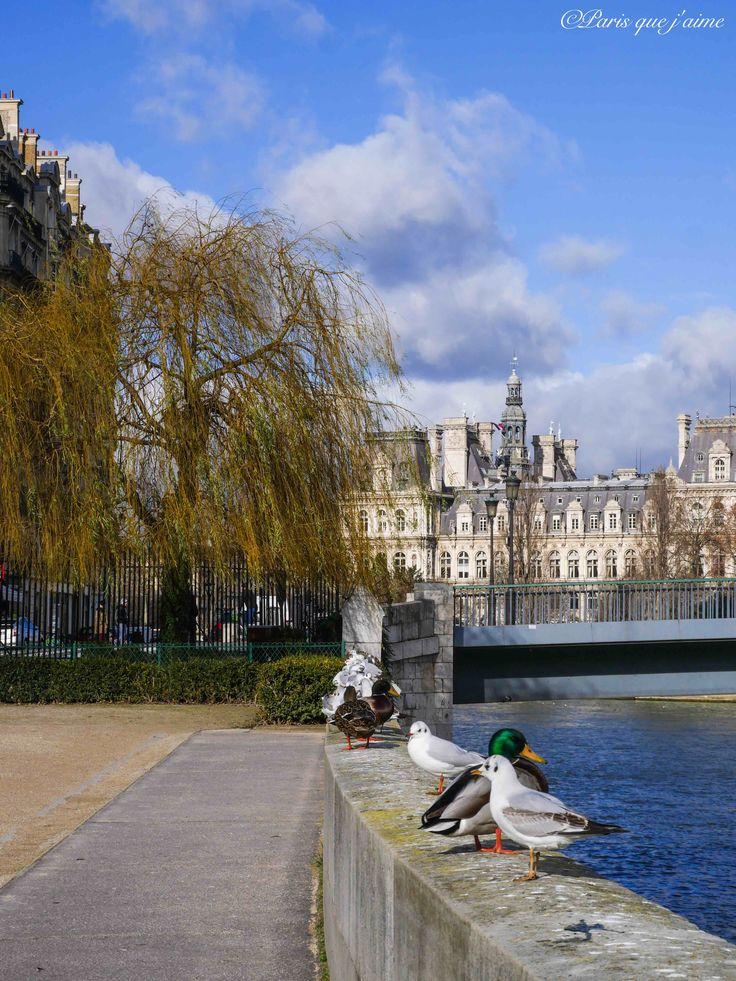 L'Île de la Cité avec l'Hôtel de Ville de Paris à l