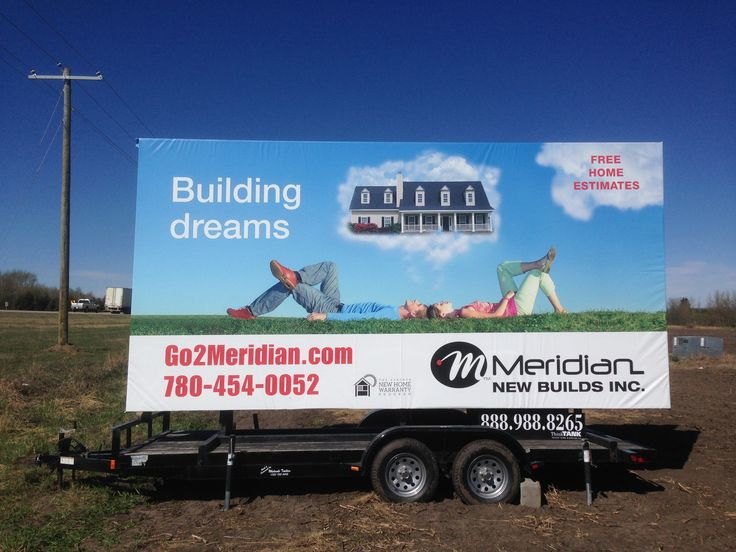 Meridian New Builds' Trailer Billboard will definitely get people thinking about their next dream home #outofhomemarketing #outdooradvertising #mobilebillboards #alternativeadvertising
