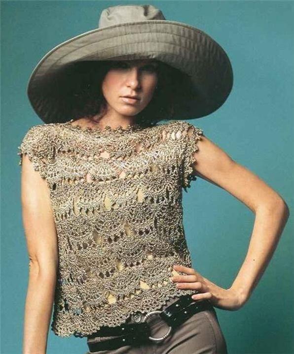 Blusas tejidas a crochet japonesas con patrones - Imagui