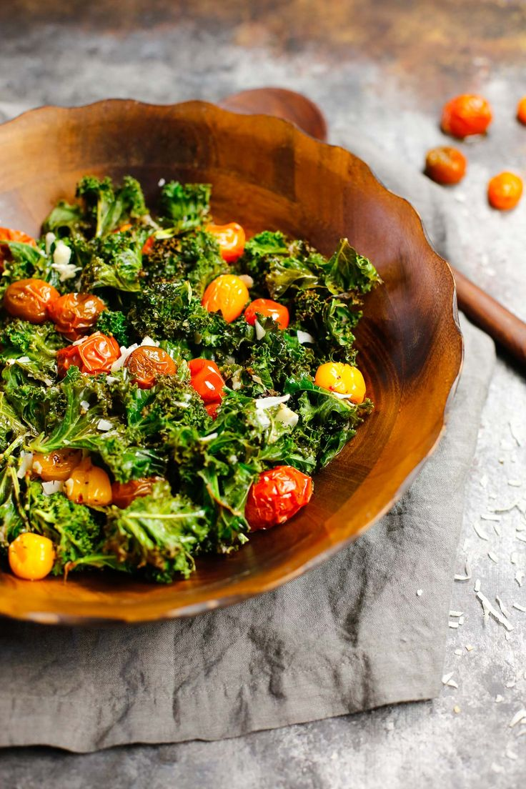 Oven-roasted tomatoes slicked with olive oil and lime. Kale cooked with soy sauce and coconut has a deep savory flavor & an amazing crunchy texture