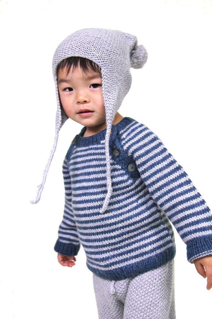 Oscar Sweater Cerulean Blue Cloud Grey Stripe – Redfish Kids