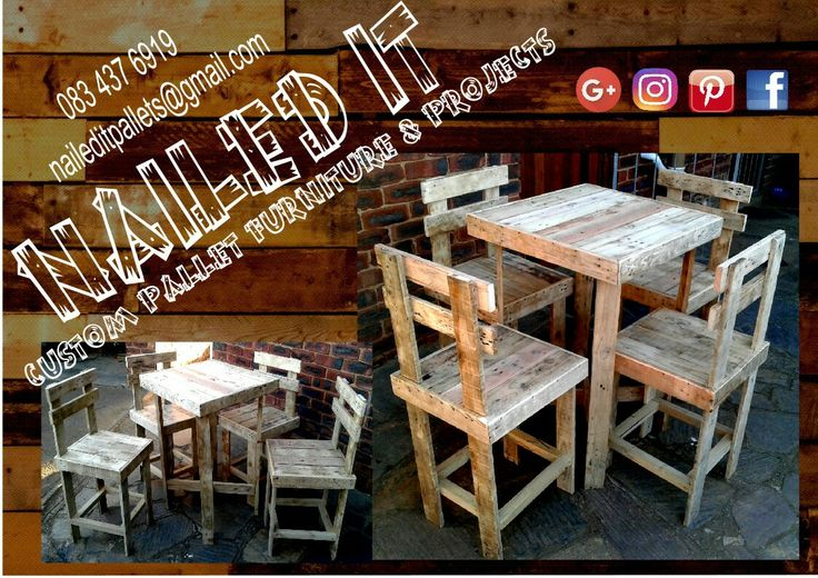"Just finished these: ""Bar"" Table with chairs. Raw Wood Finish. Custom pallet wood furniture & decor. All items can be painted, treated or raw wood: your choice. If it's made from wood, we'll build it. Your imagination is your only limit. For more info or a quote contact 0834376919 or naileditpallets@gmail.com #naileditpallets #palletfurniture #palletwoodfurniture #palletgardenfurniture #palletfurnituredurban #palletfurnitureamanzimtoti #palletbarfurniture #palletbartable…"