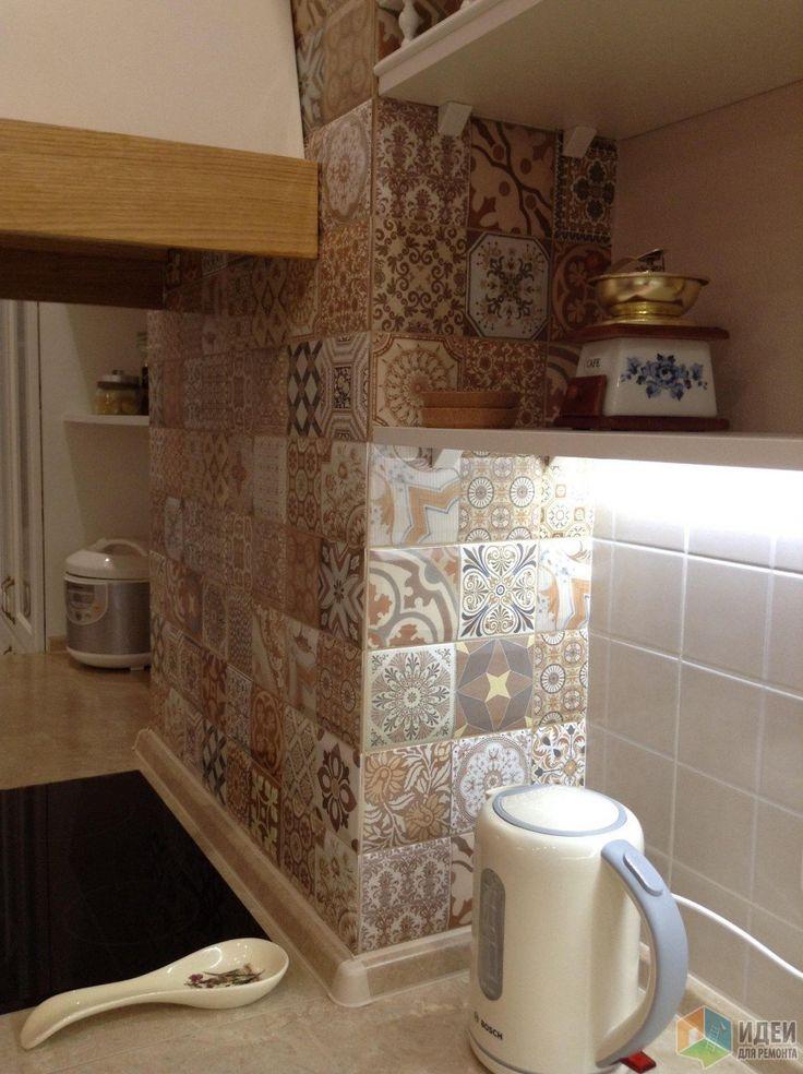 Керамическая плитка, кухонный фартук в стиле пэчворк