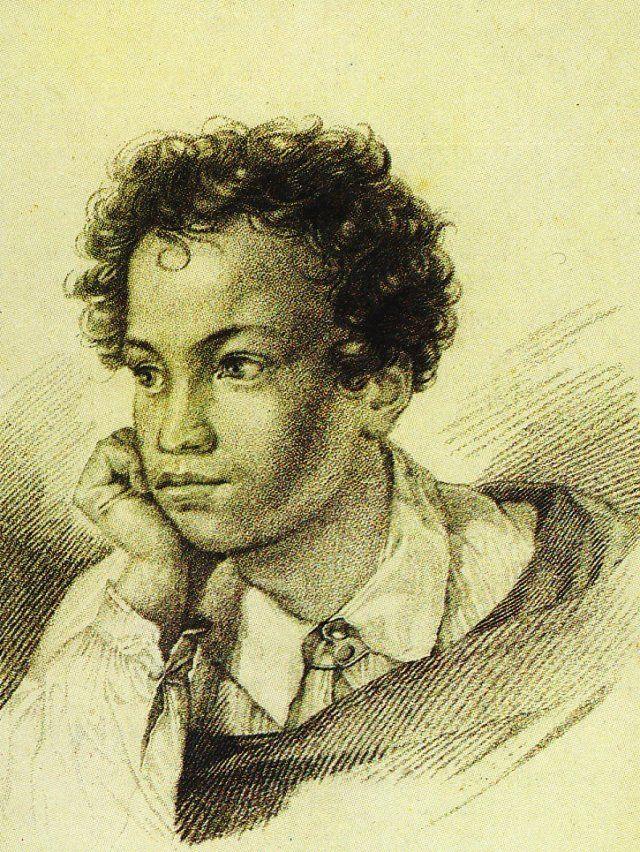"""Эта гравюра была выполнена на меди художником  Е.Гейтманом  для первого издании """"Кавказского пленника"""" (1822 года) с лицейского рисунка.  Почему-то Пушкин выбрал для иллюстрации романтической поэмы образ себя шестнадцатилетнего."""