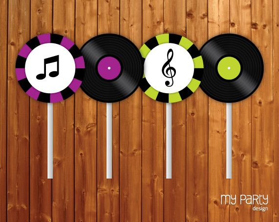 PRINTABLE Party Circles / Cupcake toppers - Music Theme by mypartydesign, via Flickr