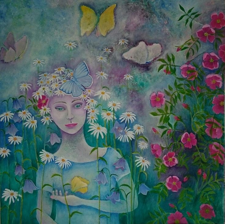 The girl with the lemmen butterfly  Acrylics on canvas  Size: 60x60