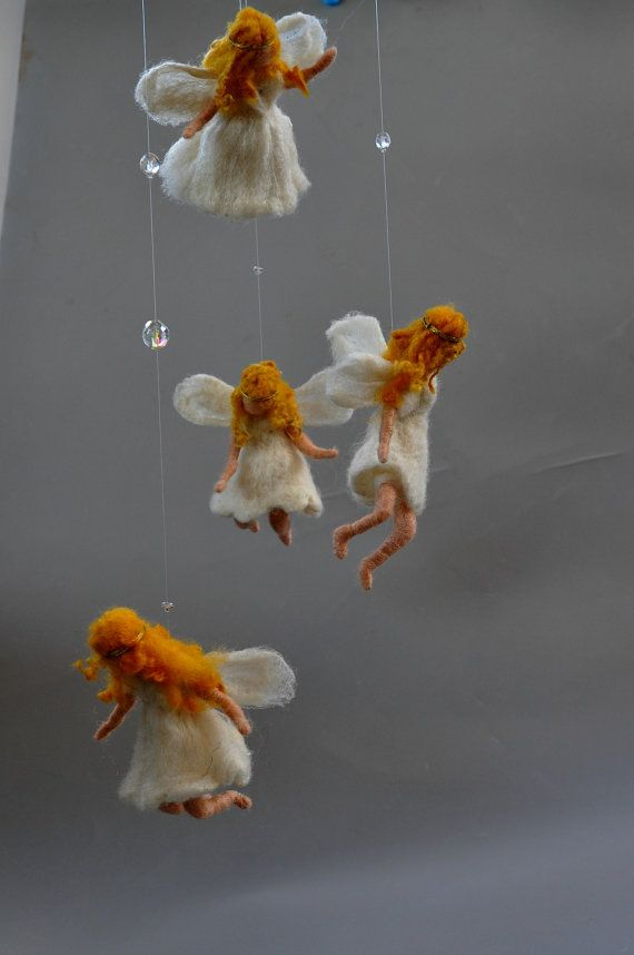 Needle felted Waldorf Mobile. Wall hanging Angels by darialvovsky, $150.00