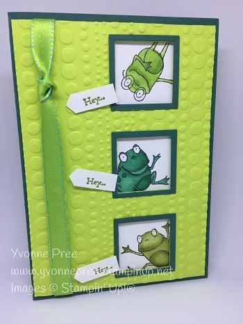 I designed this card to showcase the 3 frogs in the So Hoppy Together stamp set which is FREE with a qualifying order during the 2019 Sale-a-bration p…