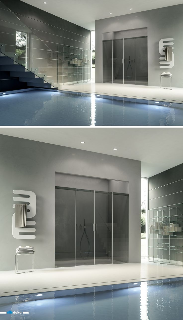acqua 5000 • this luxurious frameless shower for an alcove links steadiness with a dynamic touch. The two central sliding doors make you enjoy showering after a swim in the swimming pool!