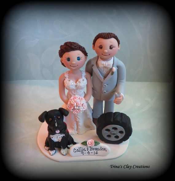 Mechanic Theme Wedding Cake Topper by Trina's Clay Creations