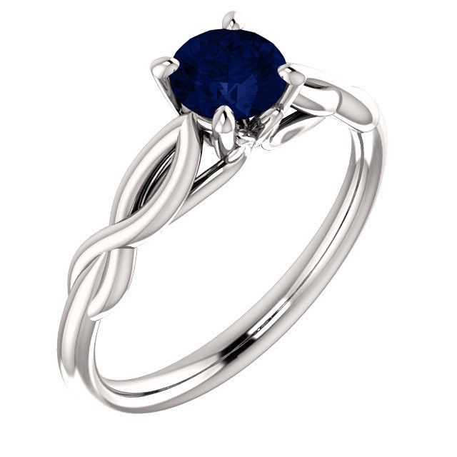 14kt White Gold 5.2mm Round Blue Sapphire Solitaire Engagement Ring – Sparkle & Jade