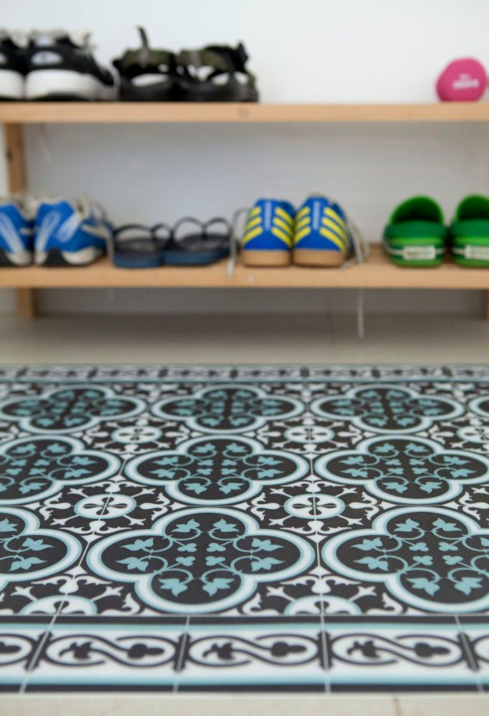 Tiles Pattern Decorative Pvc Vinyl Mat Color Dark Brown