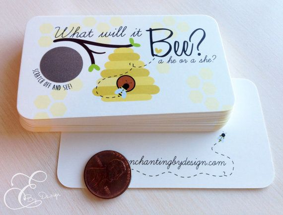 What Will It BEE Gender Reveal Scratch Off by EnchantingByDesign, $4.00