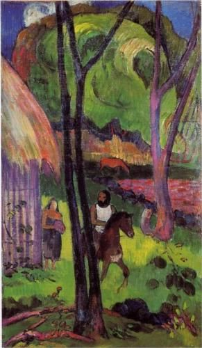 """""""The rider in front of the hub"""" (1892)   Private collection • Paul Gauguin.  1st Tahiti period. Style: Cloisinnism; oil on canvas; 58 x 34 cm."""