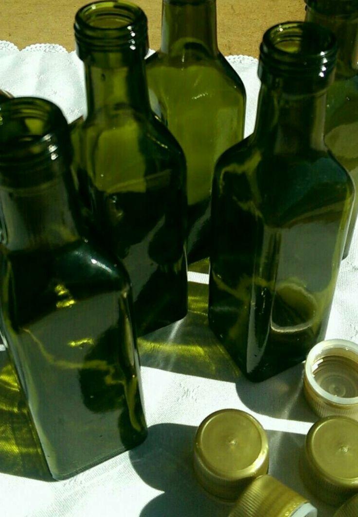 Empty 100 ml Olive Oil bottles - dark green with gold lids - www.dawnviewoliveoil.bigcartel.com