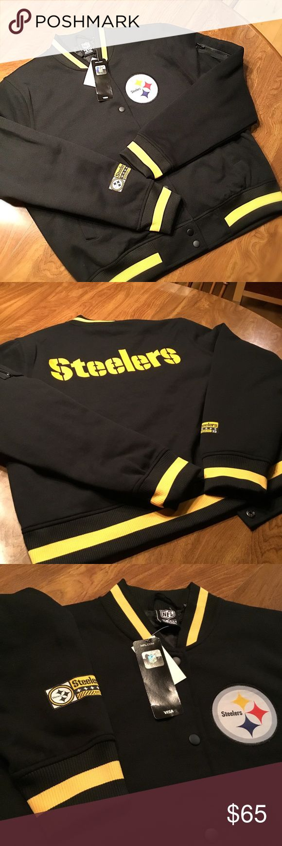 Pittsburgh Steelers NFL apparel jacket NFL licensed team apparel jacket. Snap closure, quilted liner. Two front pockets, arm pocket, and one interior pocket. Banded waist, collar, and sleeves. Large also available under separate listing. Price is firm. Jackets & Coats