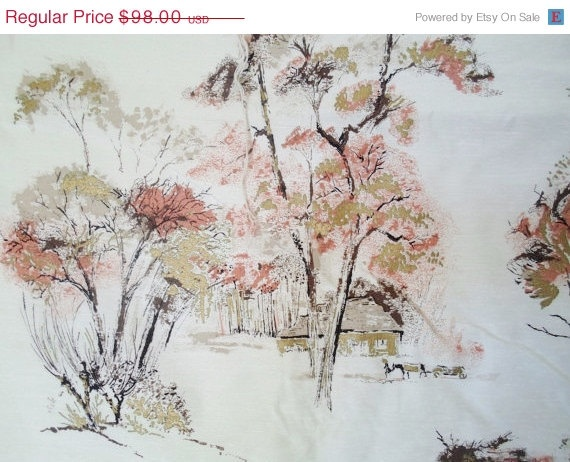 SPRING SALE Vintage 4 1/3 Yard Barkcloth Fabric Trees Asian  Gold Browns Salmon  Mid Century Modern Upholstery Fabric  Drapery Fabric  Yard