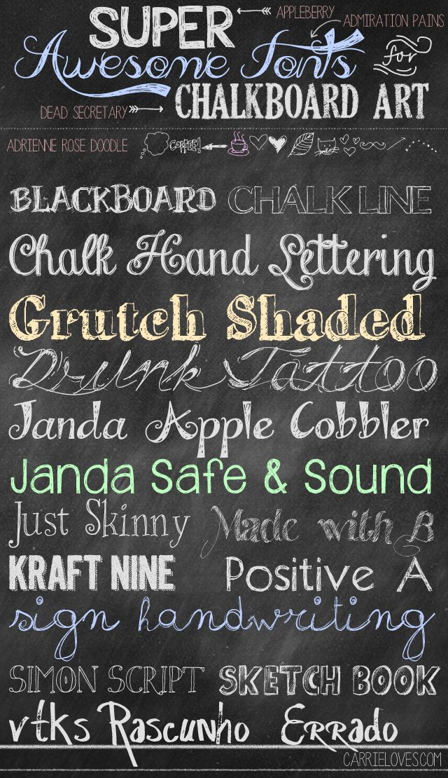 Appleberry Admiration Pains Dead Secretary Adrienne Rose Doodle Blackboard Chalkline Chalk Hand Lettering Grutch Shaded Drunk Tattoo Janda Apple Cobbler Janda Safe and Sound Just Skinny Made With B Kraft Nine Positiv A Sign Handwriting Simon Script Sketch Book vtks Rascunho Errado Lovely fonts for your chalkboard art. And the best part is they are …