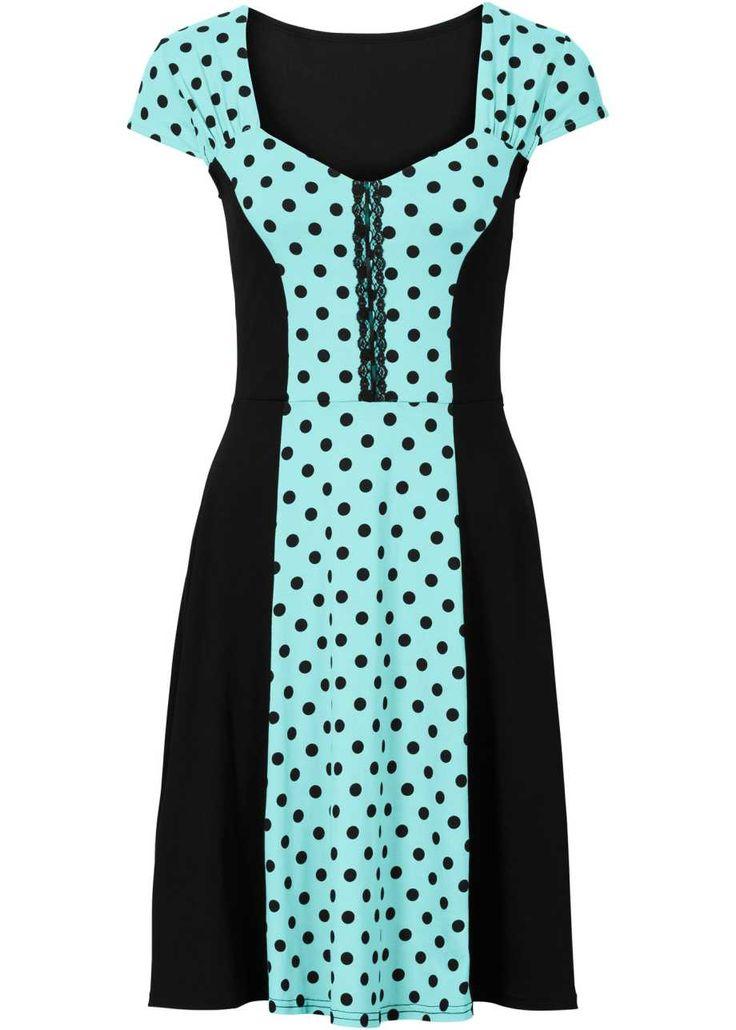 Платье в горошек, BODYFLIRT, аква/черный в горошек