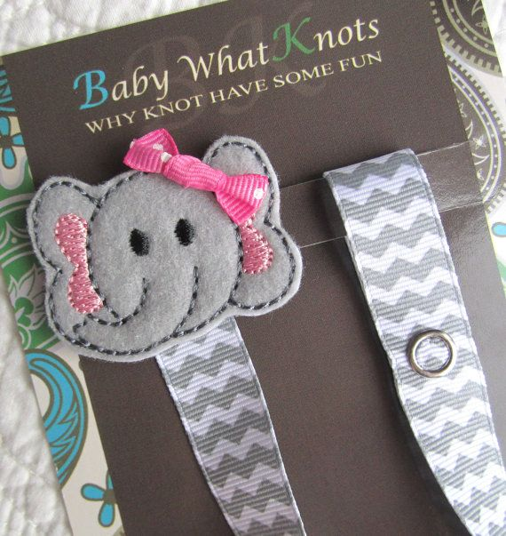 Baby Pacifier Clip, Girl Elephant Pacifier Clip, Grey Chevron Pacifier Holder, pcelephant04 on Etsy, $9.25
