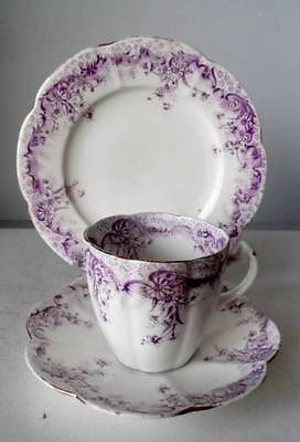 4 WILEMAN FOLEY SHELLEY CHINA #5898 PURPLE FERN PRINT TRIOS CUPS & PLATES c1910