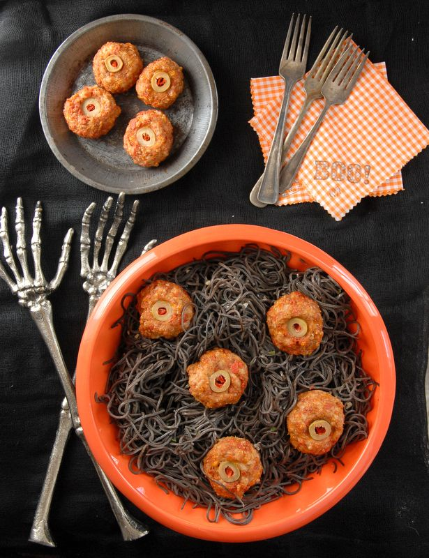 diablo eyeballs taco meatballs and black bean pasta - Scary Halloween Meatballs