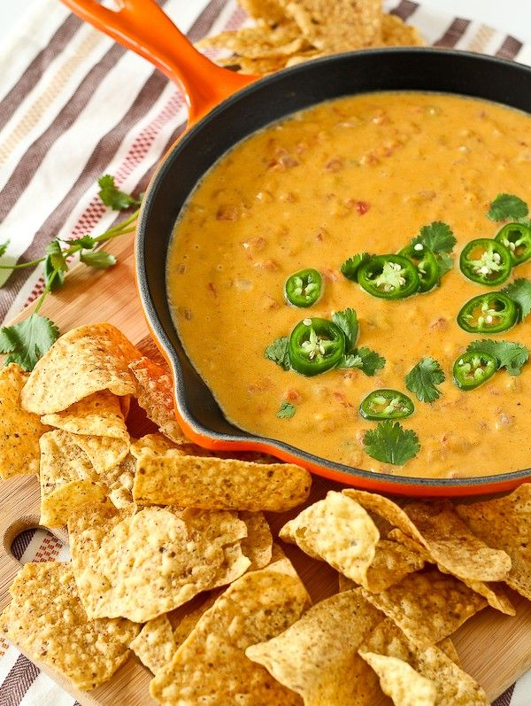 This healthy queso dip is about as healthy as you'll get when it comes to a decadent, cheesy dip. You'll love the subtle sweetness and vibrant color that the butternut squash adds. This one is a must-try! Get the appetizer recipe on RachelCooks.com! @MilkMeansMore #sponsored