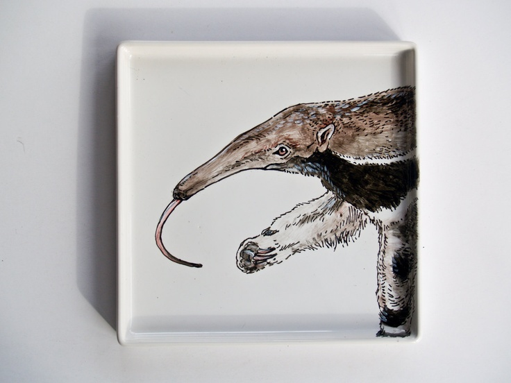 Anteater - Hand Painted Modern Side Plate. $20.00, via Etsy.