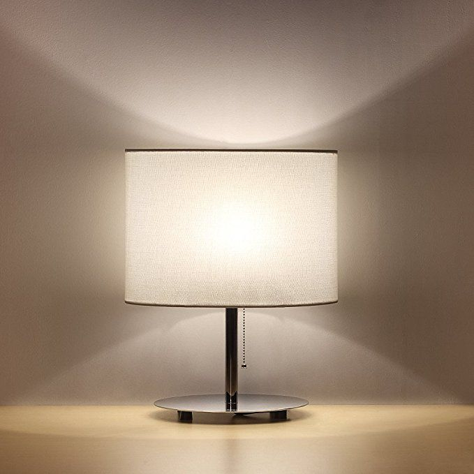 Haitral Bedside Table Lamps Minimalist Desk Lamp With Metal Base Fabric Shade Oval Simple Night Light Minimalist Desk Lamp Modern Table Lamp White Desk Lamps
