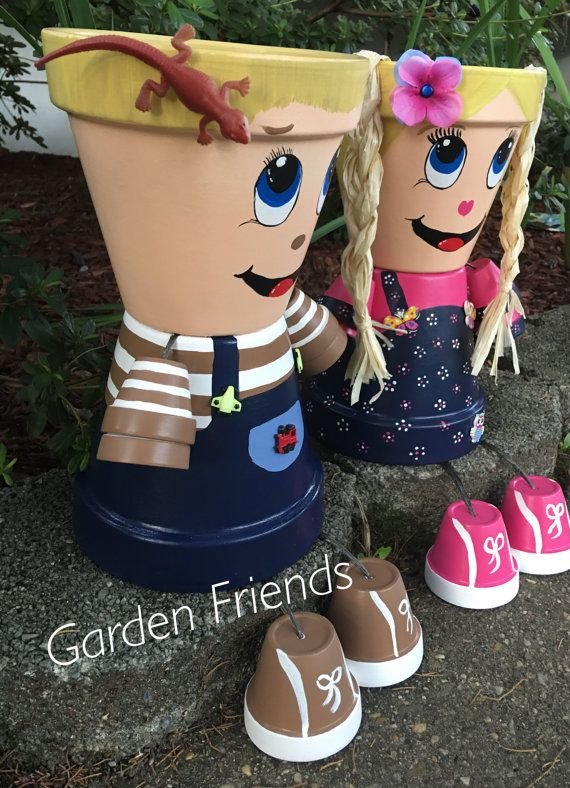 Boy or Girl Son or Daughter Planter Brother Sister Pottery