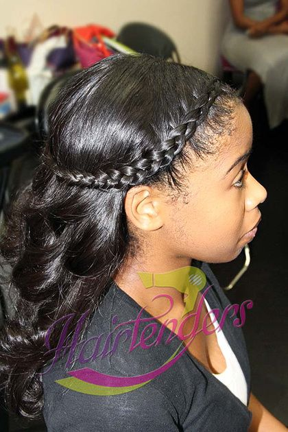 Halo Braided crown braid with hairtenders signature sew in weave Braid Hairstyles and Beyond