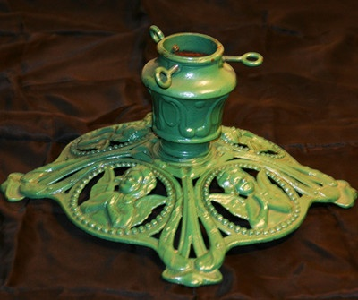 Vintage Christmas Tree Stand ~ Cast Iron w/ Praying Christmas Angels
