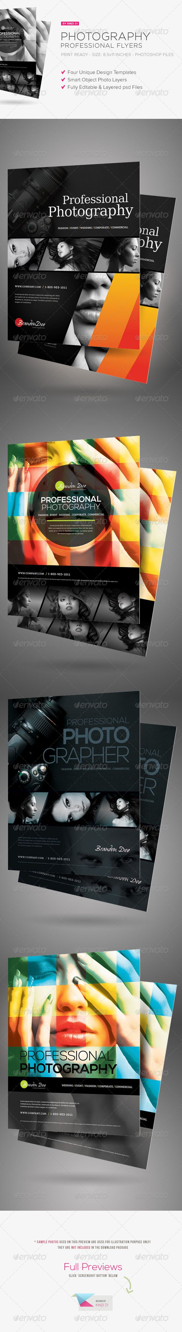 Professional Photography Flyers #GraphicRiver You might also be interested in these matching photography templates: Professional Photography Flyers These templates are perfect for photography service or for professional photographers who need a stylish, modern, professional flyer to promote their photography service or business. There are four variant designs in the template pack, a great value for your purchase! All are in a separate file, so in total there are four photoshop ...