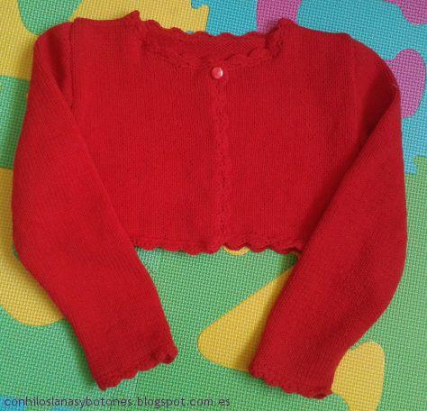 Conhiloslanasybotones chaqueta roja de punto para ni a - Lanas y punto ...