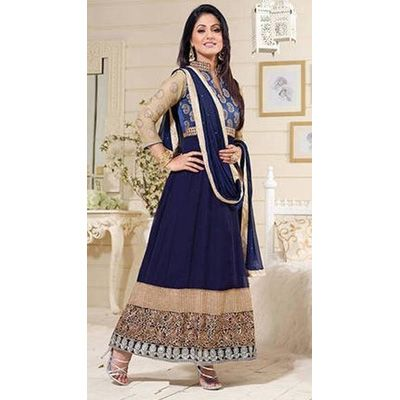 Buy Louis Vogue Blue Georgette Semi Stitched Suit by LOUIS  VOGUE, on Paytm, Price: Rs.1299?utm_medium=pintrest