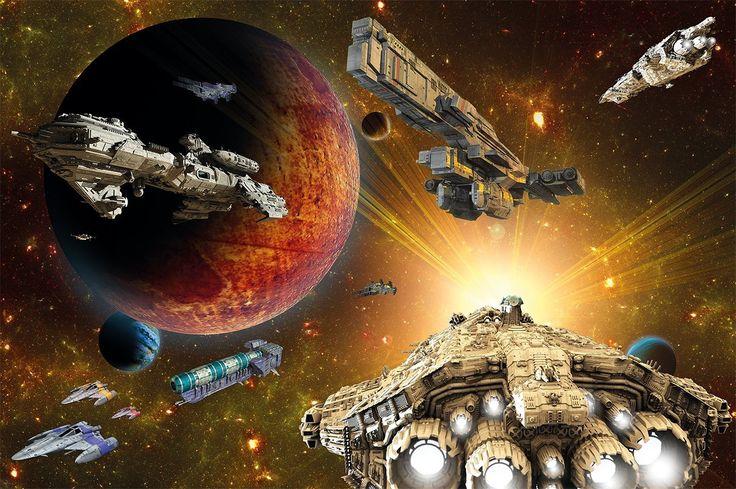 Poster Galaxy Adventure Wandbild Dekoration Raumfahrt-Mission space-shuttle science-fiction Raumschiff Weltraum All Stern   Wandposter Fotoposter Wanddeko Wandgestaltung by GREAT ART (140 x 100 cm)