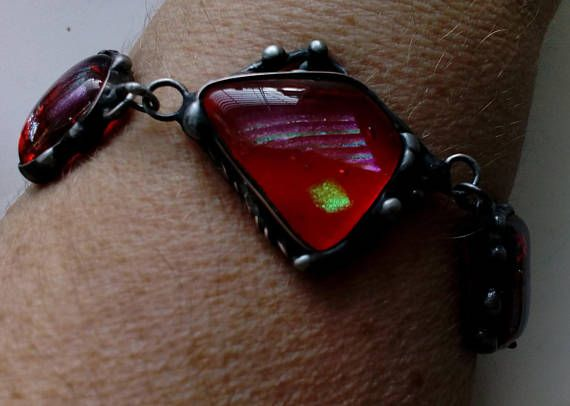 Stained glass bracelet. Tiffany style. Wire bracelet. Stained